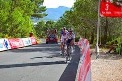 Drei Kilometer-Kennzeichen, Xorret De Cati La Vuelta España Lizenzfreies Stockbild