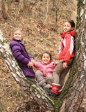 Drei Kinder - Mädchen, die auf Baum sich lehnen Stockfotografie