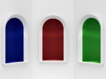 Drei klassische Nischen mit Beleuchtung Lizenzfreie Stockbilder