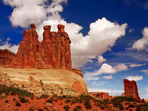 Drei Klatsch, Bögen Nationalpark, Utah Stockfotos