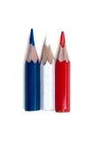 Drei kleine benutzte farbige Bleistifte Lizenzfreies Stockbild