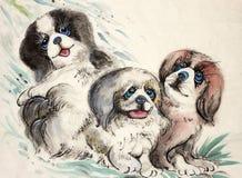 Drei kleine Hunde stock abbildung