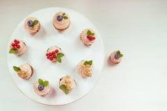 Drei kleine Kuchen mit Sahne, Zweig der Weißer Johannisbeere und Minze treiben Blätter; Stockfotografie