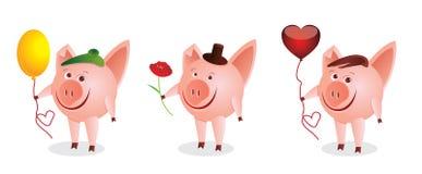 Drei kleine Schweine Stockfotos