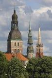 Drei Kontrolltürme Riga Stockbild