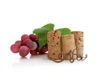 Drei Korken mit Trauben Stockfotos