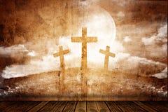 Drei Kreuze in einem Retro- Raum Stockbilder