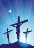 Drei Kreuze mit Taube Stockfoto