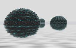 Drei Kugelformen fload im Wasserplatz Stockfotos