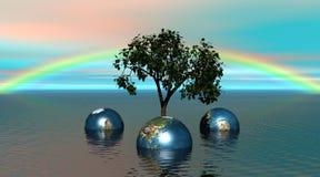Drei Länder, die einen Baum umgeben lizenzfreie abbildung