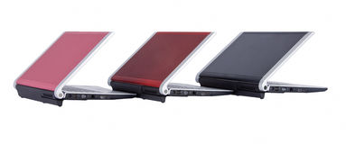 Drei Laptope stockfotografie