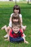 Drei lebhafte Kinder auf Gras stockbilder