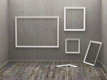 Drei leere Felder in einem Raum Stockfoto