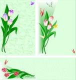 Drei Lieder mit einem Blumenstrauß der Tulpen Stockbild