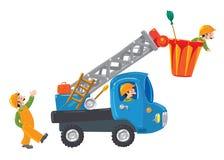 Drei lustige Arbeitskräfte und Maschineaufzug Stockbild