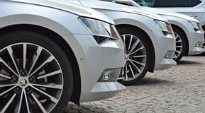 Drei Luxusautos Stockfoto