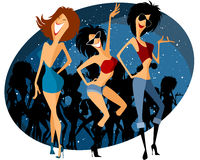 Drei Mädchen auf Party Lizenzfreie Stockfotografie