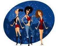 Drei Mädchen auf Party Lizenzfreie Stockbilder