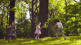 Drei Mädchen, die im Park auf dem Gras unter den Bäumen spielen stock footage