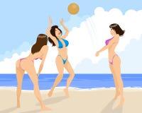 Drei Mädchen, die Volleyball spielen Stockfotos