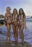Drei Mädchen an einem Hawaii-Strand Lizenzfreies Stockbild