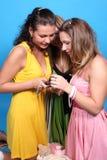Drei Mädchen mit einer Kamera Lizenzfreie Stockbilder