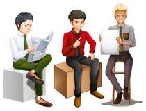 Drei Männer, die sich beim Ablesen, Unterhaltung und Halten eines emp hinsetzen stock abbildung