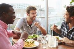 Drei männliche Freunde, die das Mittagessen am Dachspitzen-Restaurant genießen Lizenzfreie Stockfotos