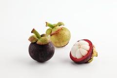 Drei Mangostanfrüchte stockfotos