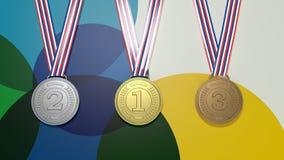 Drei Medaillen auf buntem Hintergrund Lizenzfreie Stockfotos