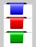 Drei mehrfarbige Aufkleber Lizenzfreie Stockfotografie