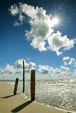 Drei meldet Strand an Stockfotografie