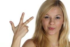 Drei mit dem Finger Stockfoto