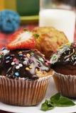 Drei Muffins Stockbild