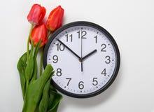 Drei natürliche Tulpenblumen und -uhr auf weißem Hintergrund - Zeit-, Liebes- und Feiertagskonzept Lizenzfreie Stockfotos