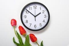 Drei natürliche Tulpenblumen und -uhr auf weißem Hintergrund - Zeit-, Liebes- und Feiertagskonzept Lizenzfreie Stockbilder