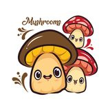 Drei nette Charakter-Design-Pilze lizenzfreie abbildung