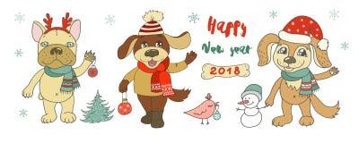Drei nette Hunde, Schneemann und Vogel Lizenzfreie Stockbilder