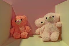 Drei nette rosa Teddybären Stockbilder