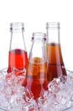 Drei Opne Soda in der Eis-Wanne Lizenzfreies Stockfoto