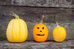 Drei orange Kürbise auf Halloween Stockbild