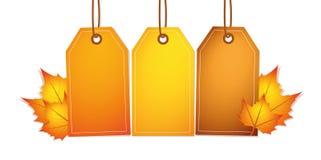 Drei orange und braune Aufkleber mit Herbstlaub stock abbildung