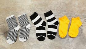 Drei Paare Socken der Kinder Lizenzfreies Stockfoto