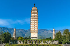 Drei Pagoden Chongsheng-Tempel in China Stockbilder
