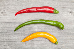 Drei Pepperonis Lizenzfreies Stockbild