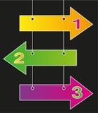 Drei Pfeile nummeriert in den verschiedenen Farben Stockfotografie