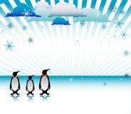 Drei Pinguine auf Eis lizenzfreie abbildung