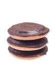 Drei Plätzchen mit Schokolade Stockbild