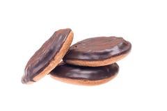 Drei Plätzchen mit Schokolade lizenzfreie stockbilder