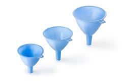 Drei Plastiktrichter Stockbild